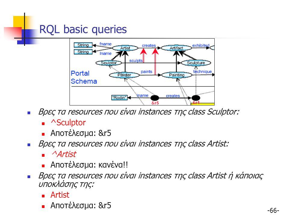 -66- RQL basic queries Βρες τα resources που είναι instances της class Sculptor: ^Sculptor Αποτέλεσμα: &r5 Βρες τα resources που είναι instances της c