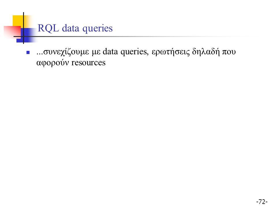 -72- RQL data queries...συνεχίζουμε με data queries, ερωτήσεις δηλαδή που αφορούν resources