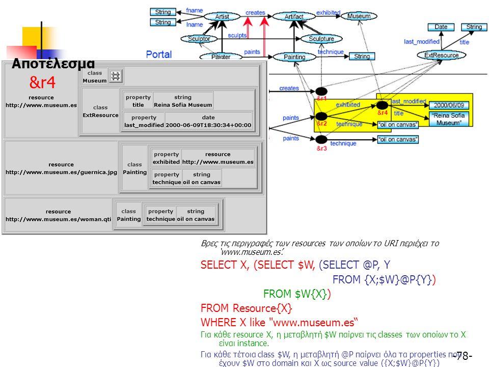-78- Βρες τις περιγραφές των resources των οποίων το URI περιέχει το 'www.museum.es'. SELECT X, (SELECT $W, (SELECT @P, Y FROM {X;$W}@P{Y}) FROM $W{X}