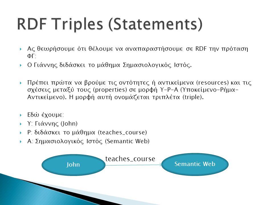  Παρατήρηση:  Το Υ είναι πάντα resource, ένα αντικείμενο δηλαδή από το οποίο μπορούν να ξεκινούν σχέσεις και ενέργειες (John teaches_course, John has_name).