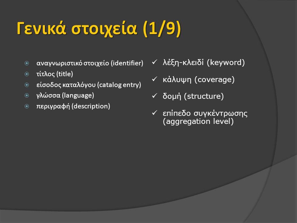  αναγνωριστικό στοιχείο (identifier)  τίτλος (title)  είσοδος καταλόγου (catalog entry)  γλώσσα (language)  περιγραφή (description) λέξη-κλειδί (keyword) κάλυψη (coverage) δομή (structure) επίπεδο συγκέντρωσης (aggregation level)