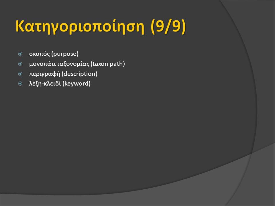  σκοπός (purpose)  μονοπάτι ταξονομίας (taxon path)  περιγραφή (description)  λέξη-κλειδί (keyword)