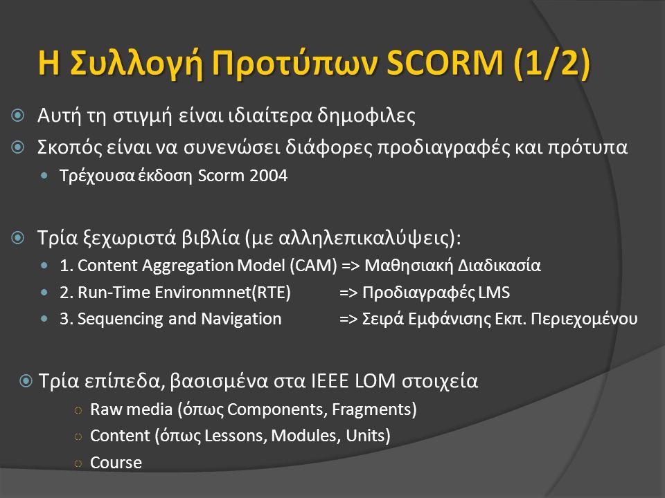  Αυτή τη στιγμή είναι ιδιαίτερα δημοφιλες  Σκοπός είναι να συνενώσει διάφορες προδιαγραφές και πρότυπα Τρέχουσα έκδοση Scorm 2004  Τρία ξεχωριστά βιβλία (με αλληλεπικαλύψεις): 1.
