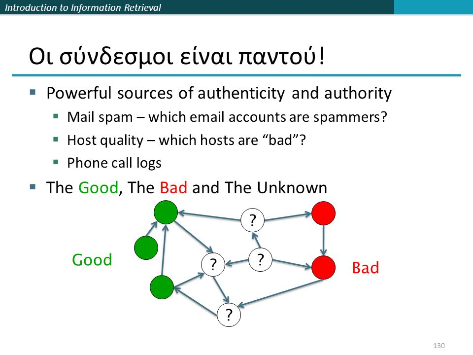 Introduction to Information Retrieval Οι σύνδεσμοι είναι παντού!  Powerful sources of authenticity and authority  Mail spam – which email accounts a