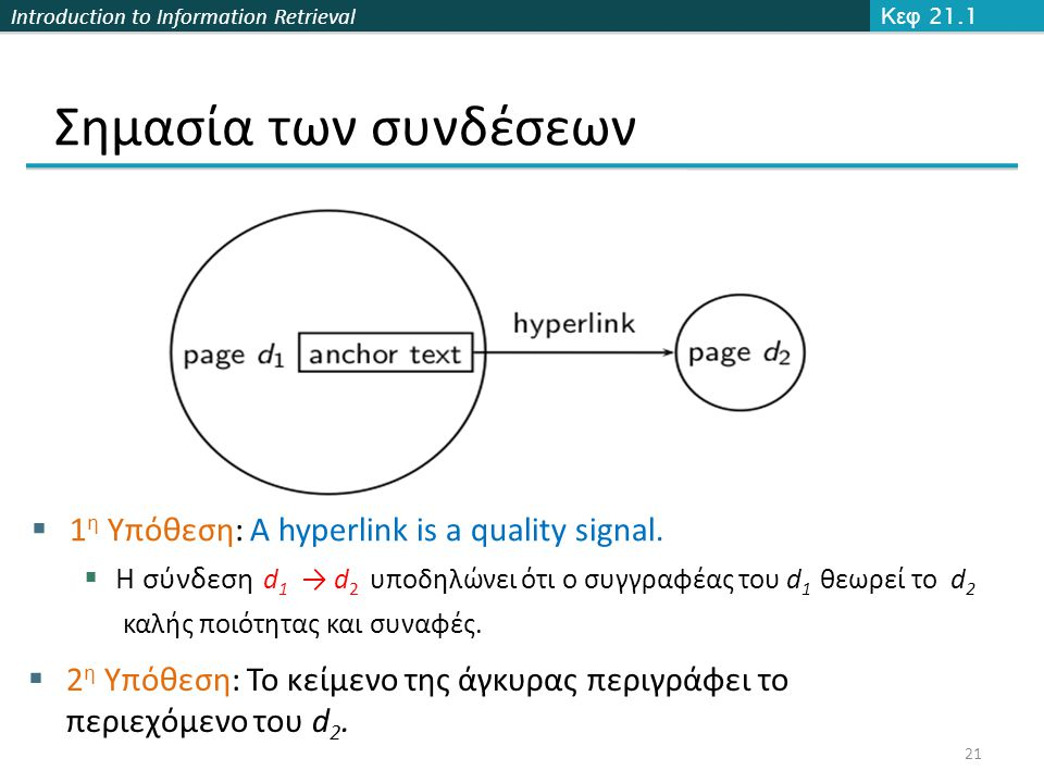 Introduction to Information Retrieval Σημασία των συνδέσεων Κεφ 21.1 21  1 η Υπόθεση: A hyperlink is a quality signal.  Η σύνδεση d 1 → d 2 υποδηλών