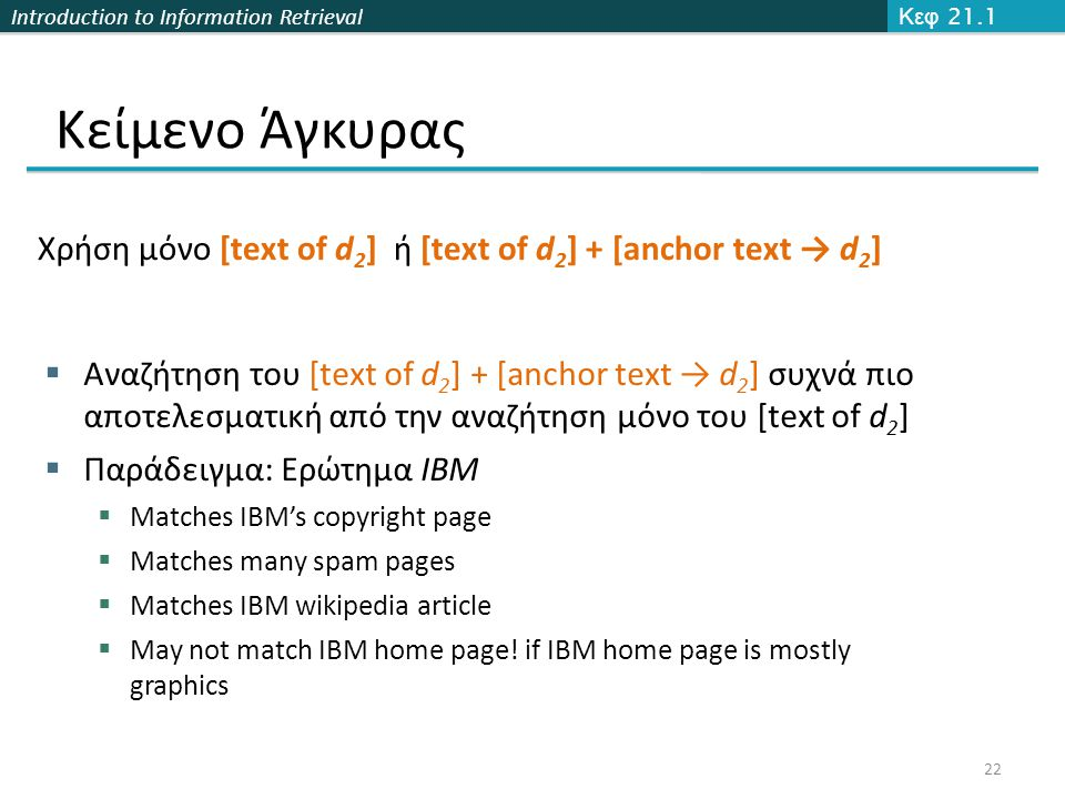 Introduction to Information Retrieval Κείμενο Άγκυρας Κεφ 21.1 22 Χρήση μόνο [text of d 2 ] ή [text of d 2 ] + [anchor text → d 2 ]  Αναζήτηση του [t