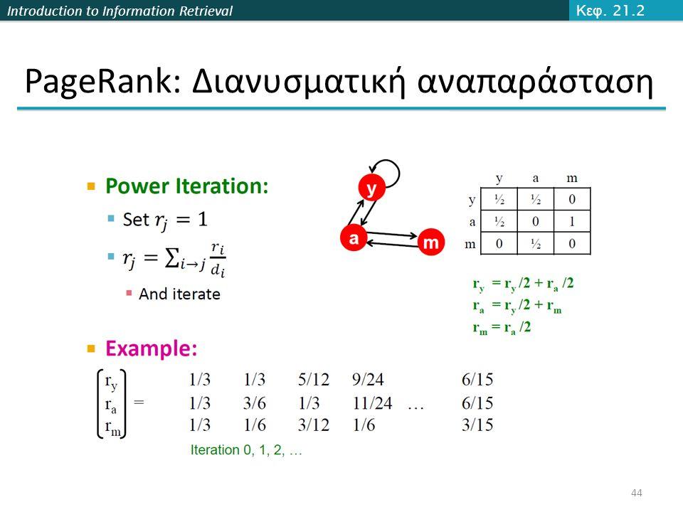 Introduction to Information Retrieval PageRank: Διανυσματική αναπαράσταση 44 Κεφ. 21.2