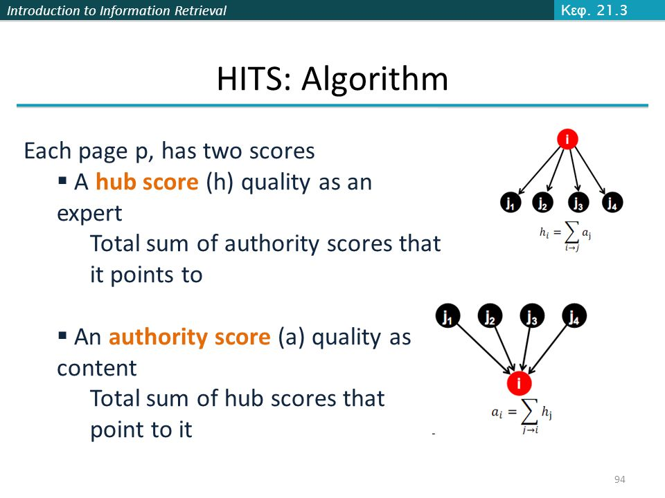 Introduction to Information Retrieval 94 Κεφ. 21.3 HITS: Algorithm Each page p, has two scores  A hub score (h) quality as an expert Total sum of aut