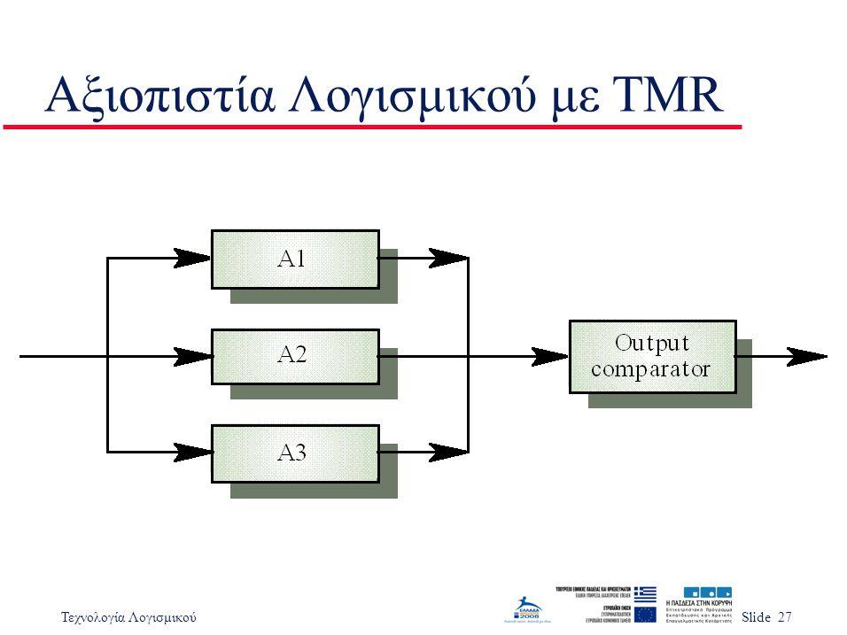 Τεχνολογία ΛογισμικούSlide 27 Αξιοπιστία Λογισμικού με TMR