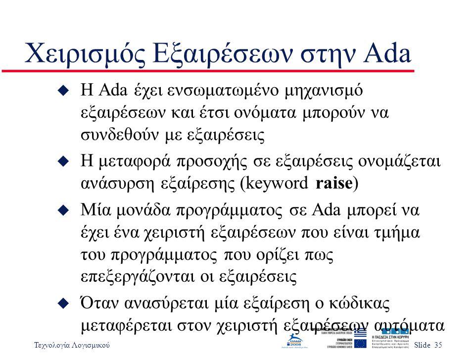 Τεχνολογία ΛογισμικούSlide 35 Χειρισμός Εξαιρέσεων στην Ada u Η Ada έχει ενσωματωμένο μηχανισμό εξαιρέσεων και έτσι ονόματα μπορούν να συνδεθούν με εξαιρέσεις u Η μεταφορά προσοχής σε εξαιρέσεις ονομάζεται ανάσυρση εξαίρεσης (keyword raise) u Μία μονάδα προγράμματος σε Ada μπορεί να έχει ένα χειριστή εξαιρέσεων που είναι τμήμα του προγράμματος που ορίζει πως επεξεργάζονται οι εξαιρέσεις u Όταν ανασύρεται μία εξαίρεση ο κώδικας μεταφέρεται στον χειριστή εξαιρέσεων αυτόματα