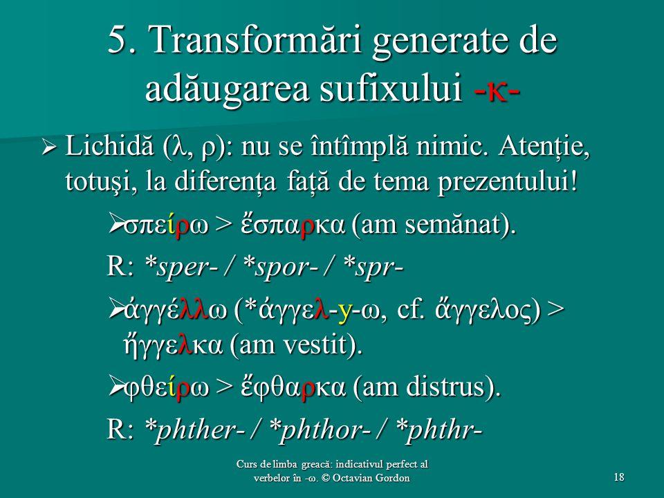 5. Transformări generate de adăugarea sufixului -κ-  Lichidă (λ, ρ): nu se întîmplă nimic. Atenţie, totuşi, la diferenţa faţă de tema prezentului! 