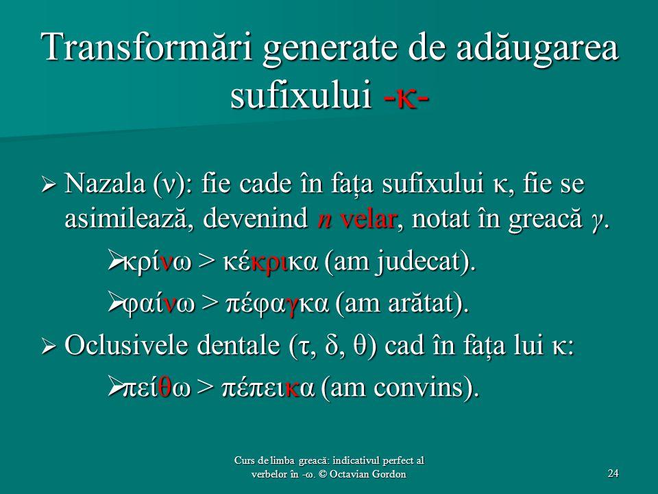 Transformări generate de adăugarea sufixului -κ-  Nazala (ν): fie cade în faţa sufixului κ, fie se asimilează, devenind n velar, notat în greacă γ. 