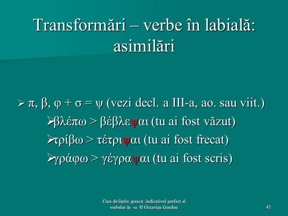 Transformări – verbe în labială: asimilări  π, β, φ + σ = ψ (vezi decl. a III-a, ao. sau viit.)  βλέπω > βέβλεψαι (tu ai fost văzut)  τρίβω > τέτρι