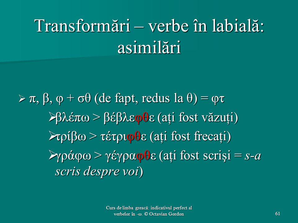 Transformări – verbe în labială: asimilări  π, β, φ + σθ (de fapt, redus la θ) = φτ  βλέπω > βέβλεφθε (aţi fost văzuţi)  τρίβω > τέτριφθε (aţi fost frecaţi)  γράφω > γέγραφθε (aţi fost scrişi = s-a scris despre voi) 61 Curs de limba greacă: indicativul perfect al verbelor în -ω.