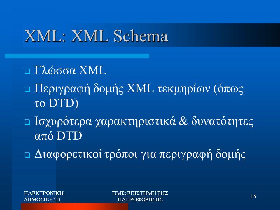 ΗΛΕΚΤΡΟΝΙΚΗ ΔΗΜΟΣΙΕΥΣΗ ΠΜΣ: ΕΠΙΣΤΗΜΗ ΤΗΣ ΠΛΗΡΟΦΟΡΗΣΗΣ 15 XML: XML Schema  Γλώσσα XML  Περιγραφή δομής XML τεκμηρίων (όπως το DTD)  Ισχυρότερα χαρακ