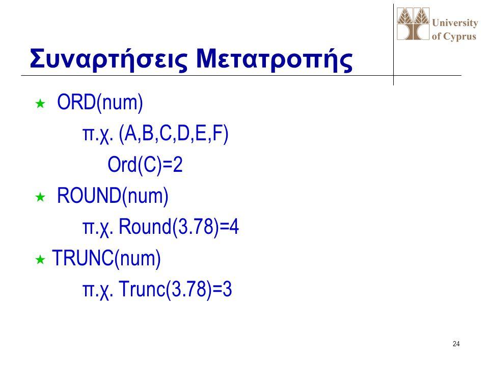 23 « PRED(num) π.χ. Pred(10)=9 « ODD(num) -περιττός π.χ. Odd(7)=true « SUCC(num) π.χ. Succ(10)=11 Βαθμωτές Συναρτήσεις