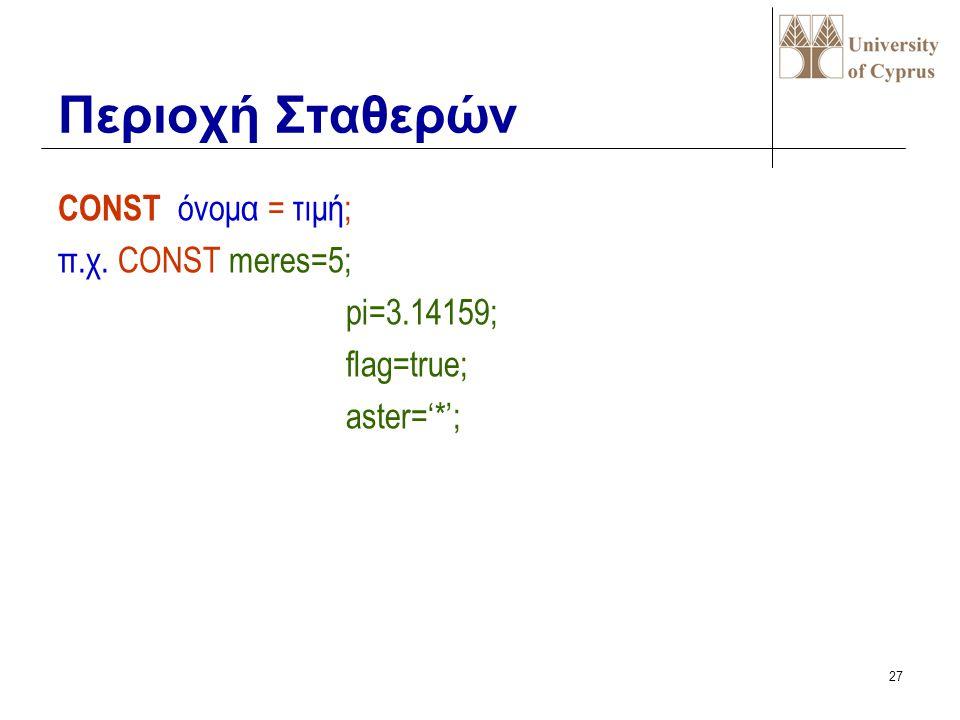 26 PROGRAM όνομα (αρχείο1,..); π.χ. Program Factorial; Program Second_example; Program test(input,output); Επικεφαλίδα Προγραμματος