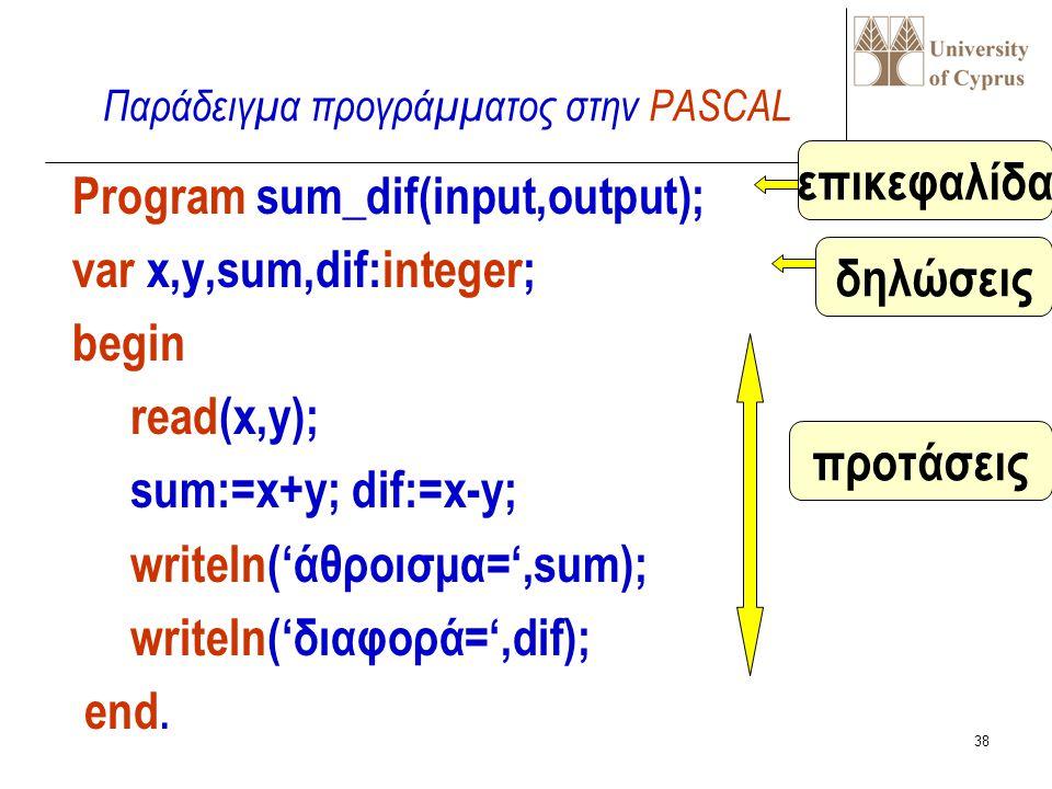 37 Program όνομα; const δήλωση σταθεράς..δήλωση σταθ; type δήλωση τύπου..δήλωση τύπου; var δήλωση μεταβλητής..δήλ.μεταβλ ; ορισμοί διαδικασιών και συναρτήσεων begin πρόταση..πρόταση; end.