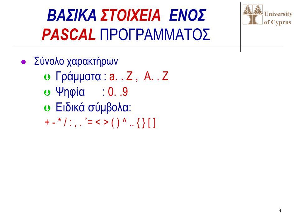 3  Απλή και εύκολη στην εκμάθηση  Περιλαμβάνει ικανοποιητικό σύνολο εντολών ελέγχου  Διαχειρίζεται πολλούς τύπους δεδομένων  Είναι γλώσσα γενικού σκοπού  Υπάρχουν μεταφραστές της PASCAL για τα περισσότερα υπολογιστικά συστήματα  Ιδανική για διδασκαλία βασικών αρχών προγραμματισμού Πλεονεκτήματα