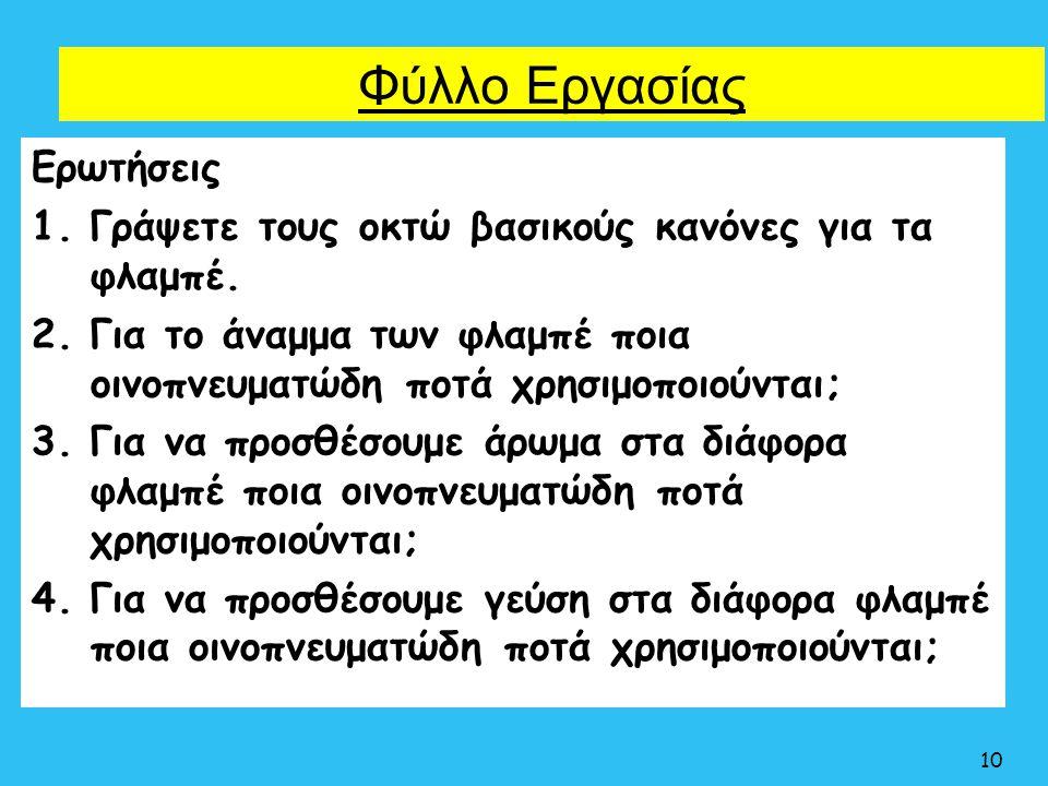 Φύλλο Εργασίας Ερωτήσεις 1.Γράψετε τους οκτώ βασικούς κανόνες για τα φλαμπέ. 2.Για το άναμμα των φλαμπέ ποια οινοπνευματώδη ποτά χρησιμοποιούνται; 3.Γ