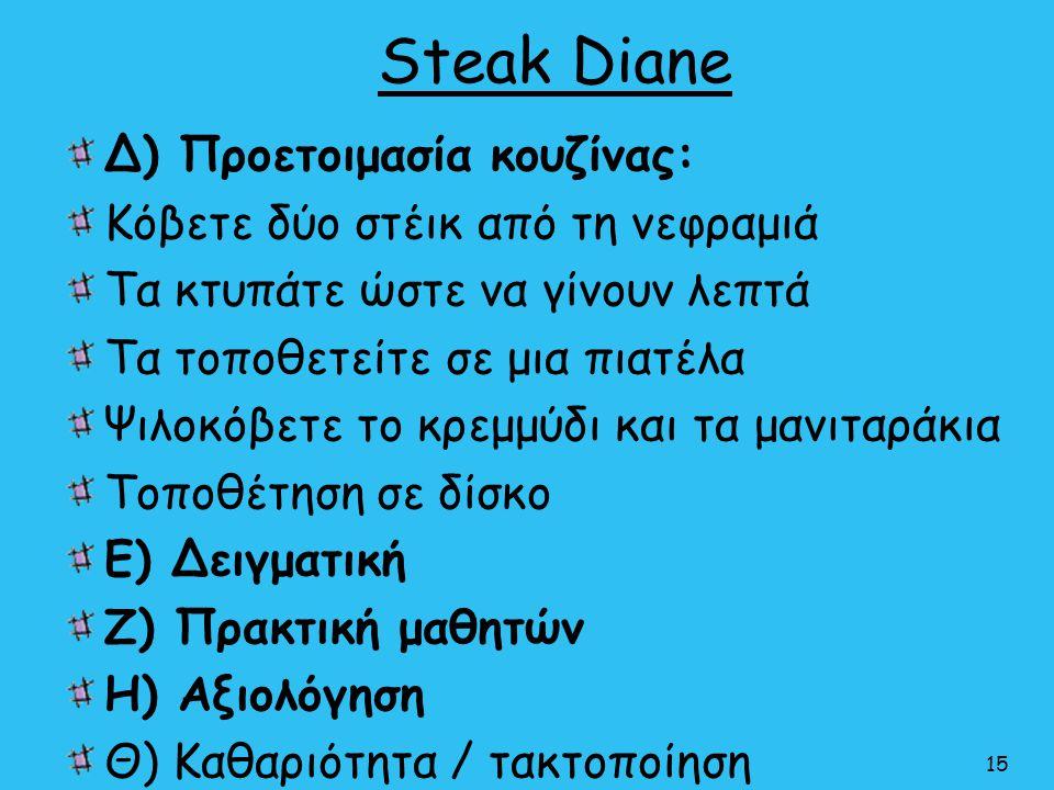 Steak Diane Δ) Προετοιμασία κουζίνας: Κόβετε δύο στέικ από τη νεφραμιά Τα κτυπάτε ώστε να γίνουν λεπτά Τα τοποθετείτε σε μια πιατέλα Ψιλοκόβετε το κρε