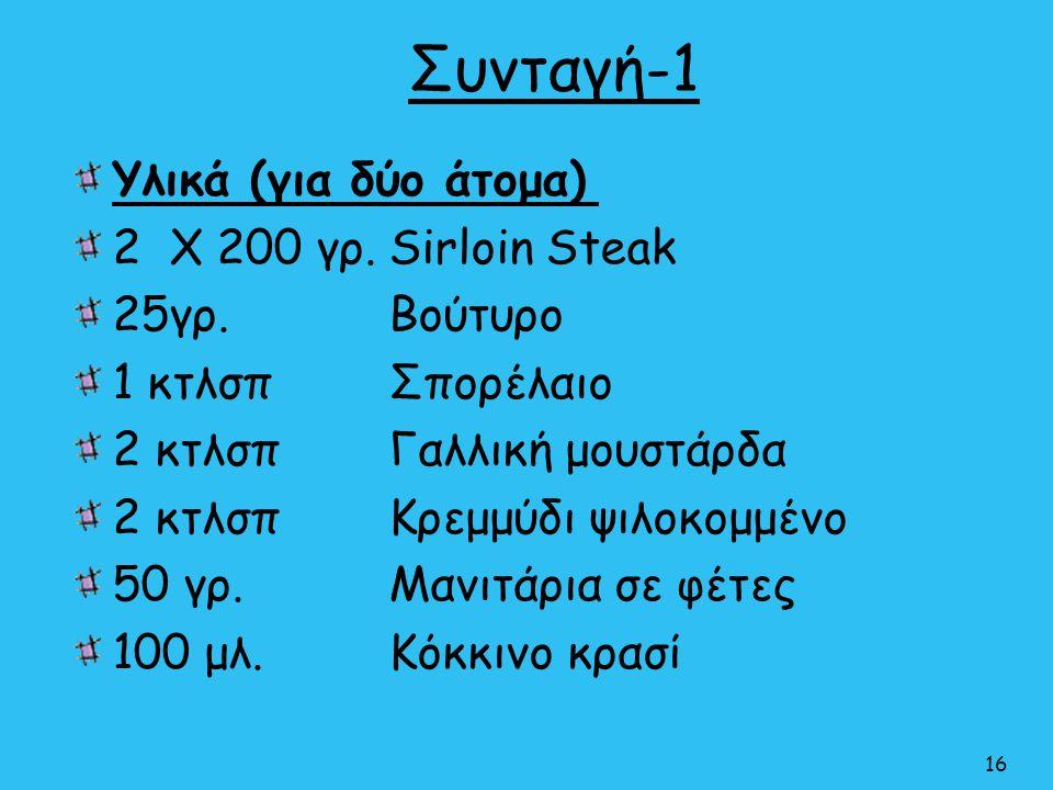 Συνταγή-1 Υλικά (για δύο άτομα) 2 Χ 200 γρ.Sirloin Steak 25γρ. Βούτυρο 1 κτλσπ Σπορέλαιο 2 κτλσπΓαλλική μουστάρδα 2 κτλσπΚρεμμύδι ψιλοκομμένο 50 γρ.Μα
