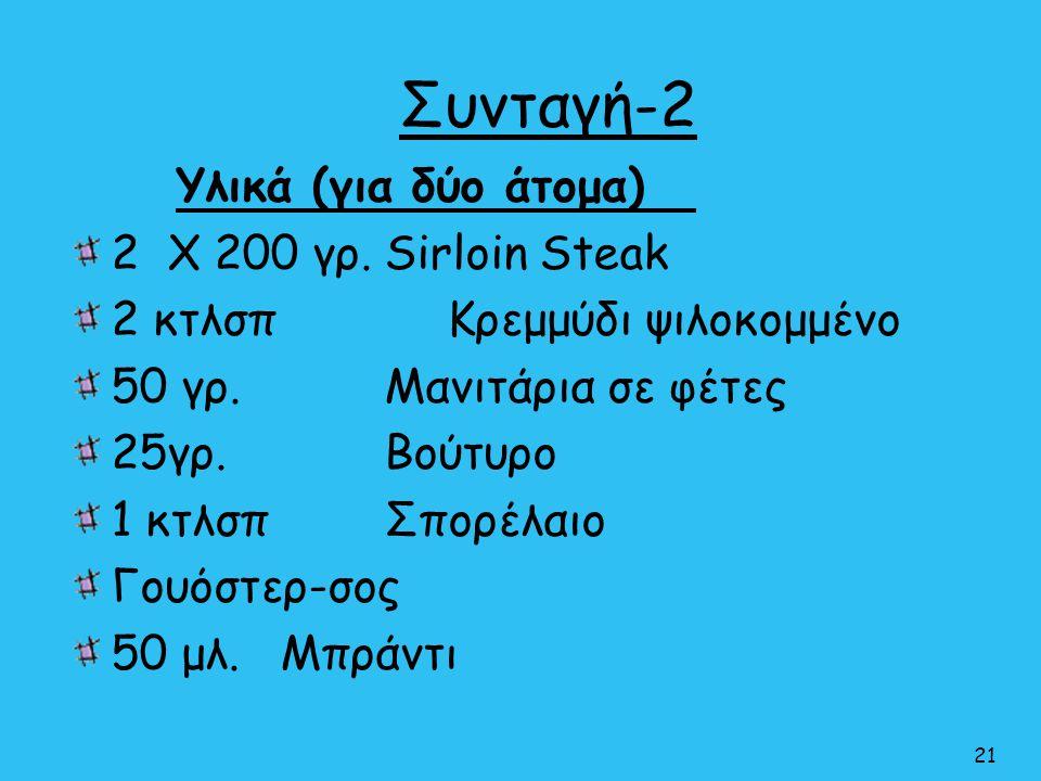 Συνταγή-2 21 Υλικά (για δύο άτομα) 2 Χ 200 γρ.Sirloin Steak 2 κτλσπ Κρεμμύδι ψιλοκομμένο 50 γρ.Μανιτάρια σε φέτες 25γρ. Βούτυρο 1 κτλσπ Σπορέλαιο Γουό