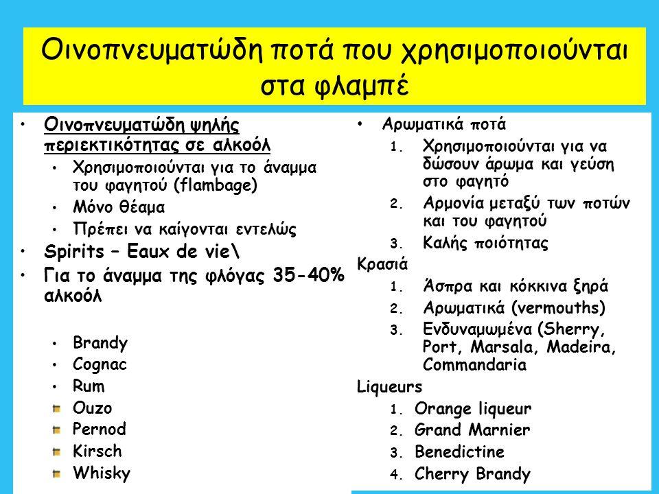 5 Οινοπνευματώδη ποτά που χρησιμοποιούνται στα φλαμπέ Οινοπνευματώδη ψηλής περιεκτικότητας σε αλκοόλ Χρησιμοποιούνται για το άναμμα του φαγητού (flamb