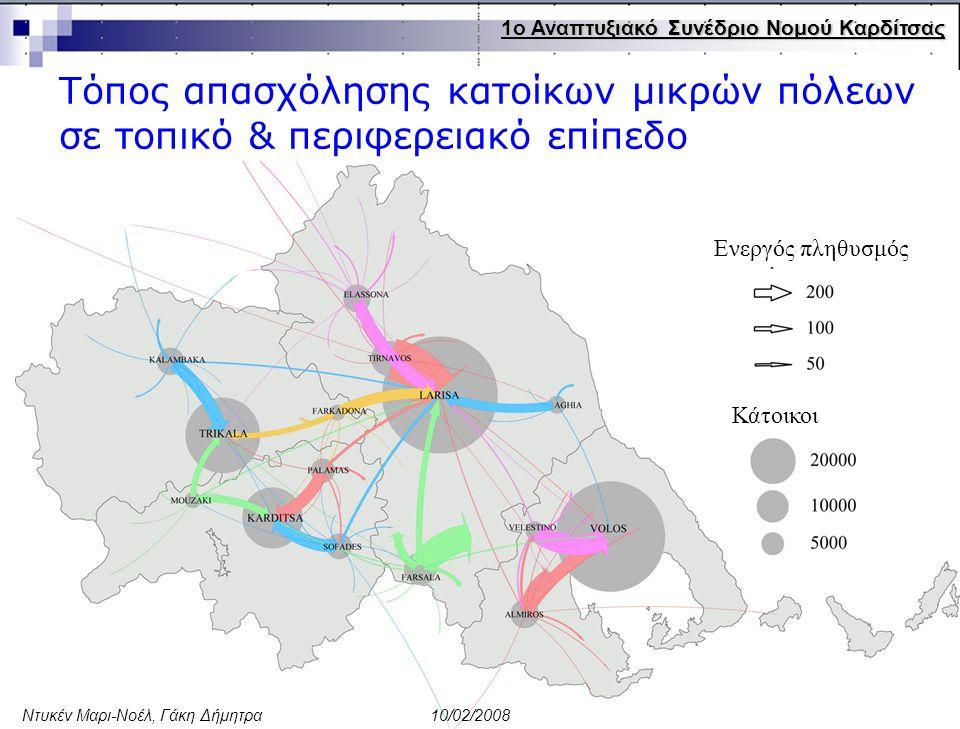 13 Ενεργός πληθυσμός Κάτοικοι Τόπος απασχόλησης κατοίκων μικρών πόλεων σε τοπικό & περιφερειακό επίπεδο 1ο Αναπτυξιακό Συνέδριο Νομού Καρδίτσας Ντυκέν