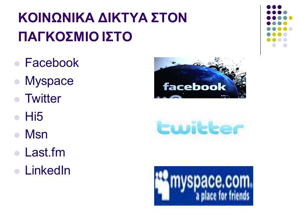 ΚΟΙΝΩΝΙΚΑ ΔΙΚΤΥΑ ΣΤΟΝ ΠΑΓΚΟΣΜΙΟ ΙΣΤΟ Facebook Myspace Twitter Hi5 Msn Last.fm LinkedIn