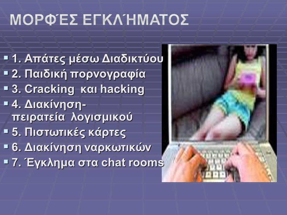  1. Απάτες μέσω Διαδικτύου  2. Παιδική πορνογραφία  3. Cracking και hacking  3. Cracking και hacking  4. Διακίνηση- πειρατεία λογισμικού  5. Πισ