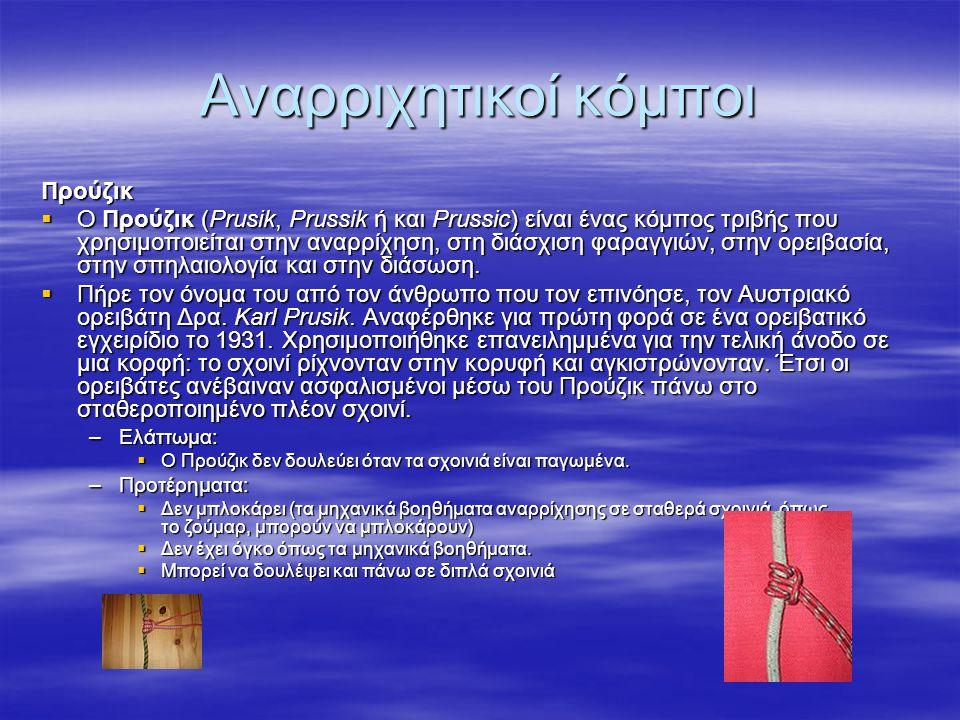 Αναρριχητικοί κόμποι Προύζικ  Ο Προύζικ (Prusik, Prussik ή και Prussic) είναι ένας κόμπος τριβής που χρησιμοποιείται στην αναρρίχηση, στη διάσχιση φα