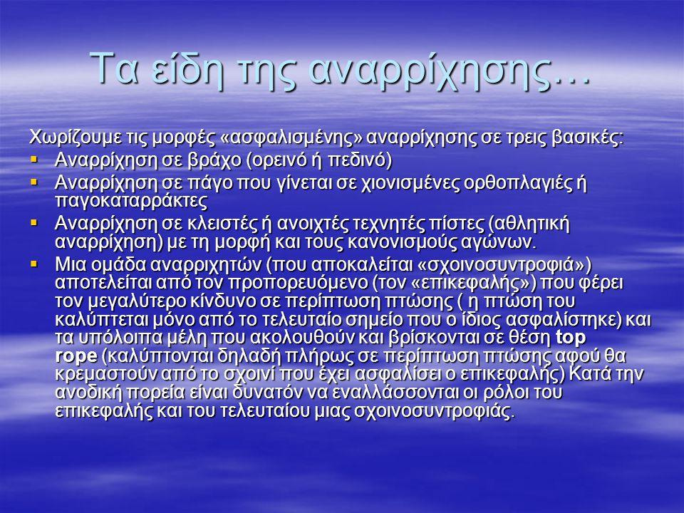 Αναρριχητική ορολογία  Η αγγλική ορολογία συνήθως χρησιμοποιείται αυτούσια, χωρίς να έχει μεταφραστεί στα Ελληνικά.