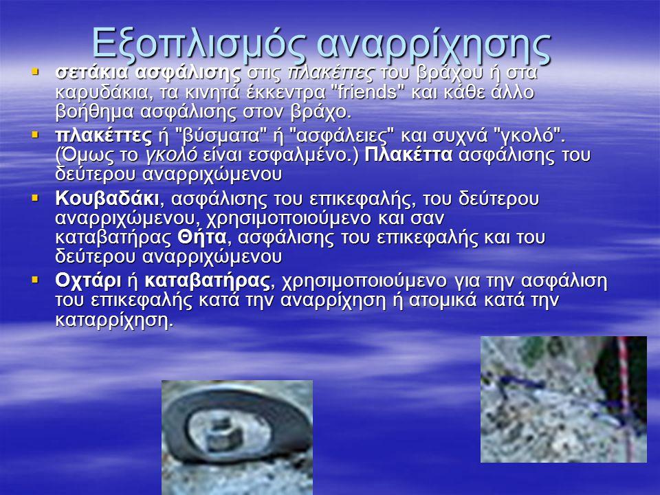 Εξοπλισμός αναρρίχησης σσσσετάκια ασφάλισης στις πλακέττες του βράχου ή στα καρυδάκια, τα κινητά έκκεντρα