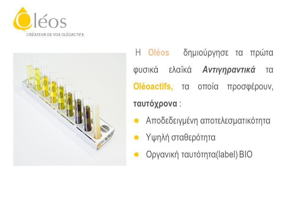 CONFIDENTIEL – propriété exclusive d'Oléos – Reproduction totale ou partielle interdite CRÉATEUR DE VOS OLÉOACTIFS Η Oléos δημιούργησε τα πρώτα φυσικά ελαϊκά Αντιγηραντικά τα Oléoactifs, τα οποία προσφέρουν, ταυτόχρονα : ● Αποδεδειγμένη αποτελεσματικότητα ● Υψηλή σταθερότητα ● Οργανική ταυτότητα(label) BIO
