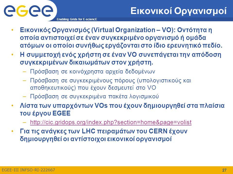 Enabling Grids for E-sciencE EGEE-III INFSO-RI-222667 27 Εικονικοί Οργανισμοί Εικονικός Οργανισμός (Virtual Organization – VO): Οντότητα η οποία αντιστοιχεί σε έναν συγκεκριμένο οργανισμό ή ομάδα ατόμων οι οποίοι συνήθως εργάζονται στο ίδιο ερευνητικό πεδίο.