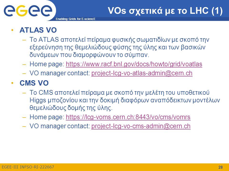 Enabling Grids for E-sciencE EGEE-III INFSO-RI-222667 28 VOs σχετικά με το LHC (1) ATLAS VO –Το ATLAS αποτελεί πείραμα φυσικής σωματιδίων με σκοπό την