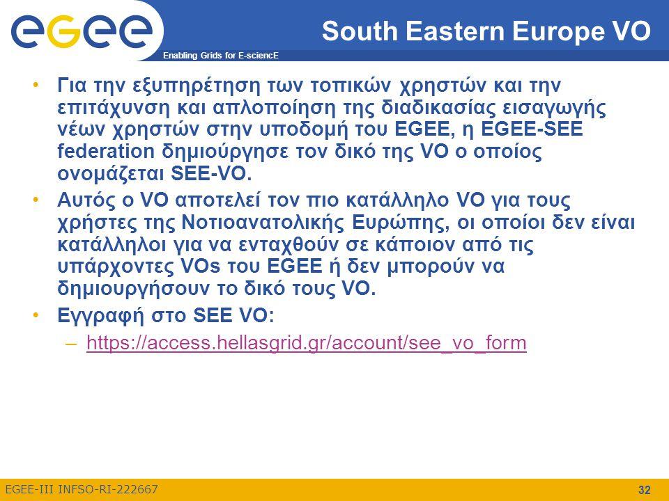 Enabling Grids for E-sciencE EGEE-III INFSO-RI-222667 32 South Eastern Europe VO Για την εξυπηρέτηση των τοπικών χρηστών και την επιτάχυνση και απλοποίηση της διαδικασίας εισαγωγής νέων χρηστών στην υποδομή του EGEE, η EGEE-SEE federation δημιούργησε τον δικό της VO ο οποίος ονομάζεται SEE-VO.