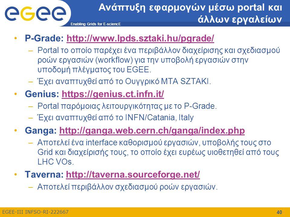 Enabling Grids for E-sciencE EGEE-III INFSO-RI-222667 40 Ανάπτυξη εφαρμογών μέσω portal και άλλων εργαλείων P-Grade: http://www.lpds.sztaki.hu/pgrade/http://www.lpds.sztaki.hu/pgrade/ –Portal το οποίο παρέχει ένα περιβάλλον διαχείρισης και σχεδιασμού ροών εργασιών (workflow) για την υποβολή εργασιών στην υποδομή πλέγματος του EGEE.