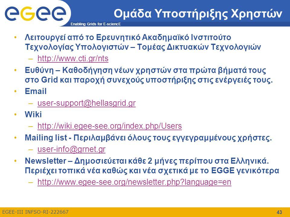 Enabling Grids for E-sciencE EGEE-III INFSO-RI-222667 43 Ομάδα Υποστήριξης Χρηστών Λειτουργεί από το Ερευνητικό Ακαδημαϊκό Ινστιτούτο Τεχνολογίας Υπολογιστών – Τομέας Δικτυακών Τεχνολογιών –http://www.cti.gr/ntshttp://www.cti.gr/nts Ευθύνη – Καθοδήγηση νέων χρηστών στα πρώτα βήματά τους στο Grid και παροχή συνεχούς υποστήριξης στις ενέργειές τους.
