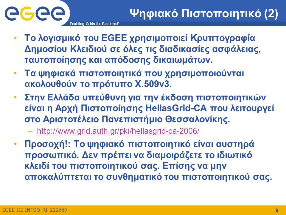 Enabling Grids for E-sciencE EGEE-III INFSO-RI-222667 9 Ψηφιακό Πιστοποιητικό (2) Το λογισμικό του EGEE χρησιμοποιεί Κρυπτογραφία Δημοσίου Κλειδιού σε όλες τις διαδικασίες ασφάλειας, ταυτοποίησης και απόδοσης δικαιωμάτων.