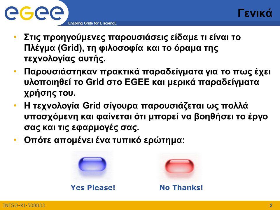 Enabling Grids for E-sciencE INFSO-RI-508833 2 Γενικά Στις προηγούμενες παρουσιάσεις είδαμε τι είναι το Πλέγμα (Grid), τη φιλοσοφία και το όραμα της τεχνολογίας αυτής.