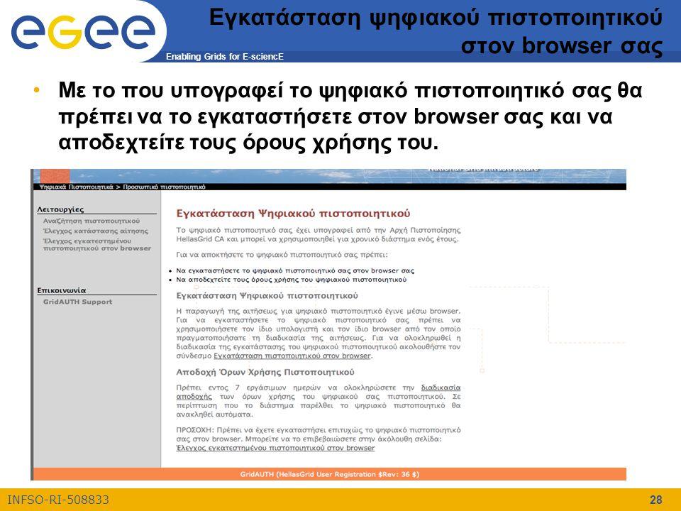 Enabling Grids for E-sciencE INFSO-RI-508833 28 Εγκατάσταση ψηφιακού πιστοποιητικού στον browser σας Με το που υπογραφεί το ψηφιακό πιστοποιητικό σας θα πρέπει να το εγκαταστήσετε στον browser σας και να αποδεχτείτε τους όρους χρήσης του.