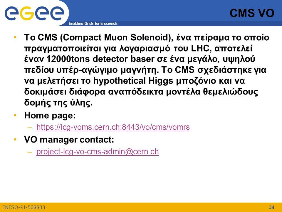 Enabling Grids for E-sciencE INFSO-RI-508833 34 CMS VO Το CMS (Compact Muon Solenoid), ένα πείραμα το οποίο πραγματοποιείται για λογαριασμό του LHC, αποτελεί έναν 12000tons detector baser σε ένα μεγάλο, υψηλού πεδίου υπέρ-αγώγιμο μαγνήτη.