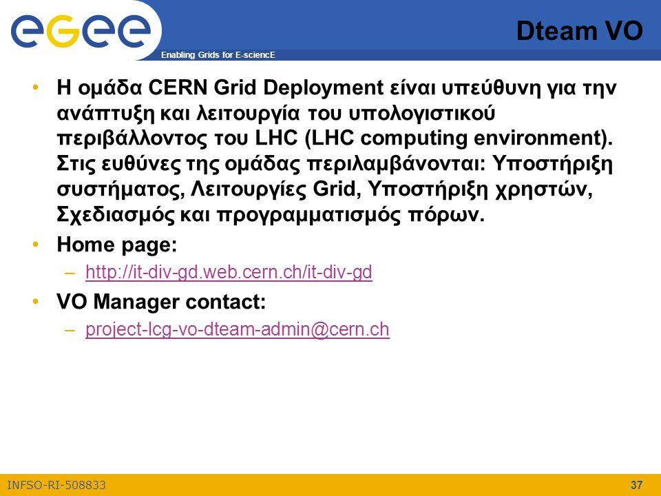 Enabling Grids for E-sciencE INFSO-RI-508833 37 Dteam VO Η ομάδα CERN Grid Deployment είναι υπεύθυνη για την ανάπτυξη και λειτουργία του υπολογιστικού περιβάλλοντος του LHC (LHC computing environment).