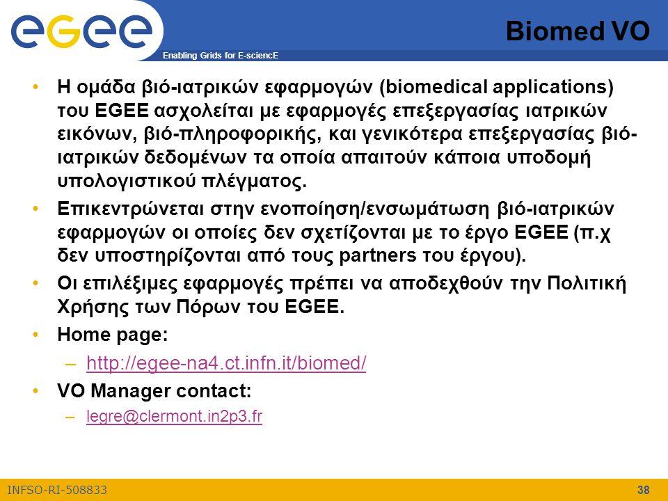 Enabling Grids for E-sciencE INFSO-RI-508833 38 Biomed VO Η ομάδα βιό-ιατρικών εφαρμογών (biomedical applications) του EGEE ασχολείται με εφαρμογές επεξεργασίας ιατρικών εικόνων, βιό-πληροφορικής, και γενικότερα επεξεργασίας βιό- ιατρικών δεδομένων τα οποία απαιτούν κάποια υποδομή υπολογιστικού πλέγματος.