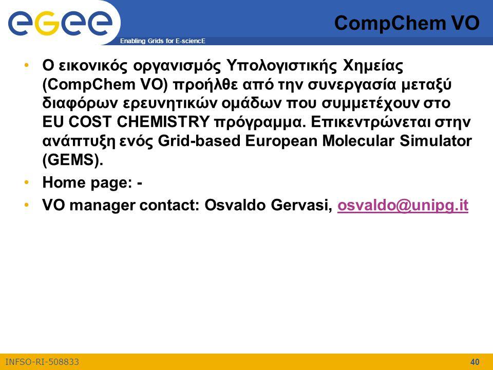 Enabling Grids for E-sciencE INFSO-RI-508833 40 CompChem VO Ο εικονικός οργανισμός Υπολογιστικής Χημείας (CompChem VO) προήλθε από την συνεργασία μεταξύ διαφόρων ερευνητικών ομάδων που συμμετέχουν στο ΕU COST CHEMISTRY πρόγραμμα.