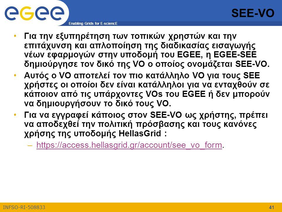 Enabling Grids for E-sciencE INFSO-RI-508833 41 SEE-VO Για την εξυπηρέτηση των τοπικών χρηστών και την επιτάχυνση και απλοποίηση της διαδικασίας εισαγωγής νέων εφαρμογών στην υποδομή του EGEE, η EGEE-SEE δημιούργησε τον δικό της VO ο οποίος ονομάζεται SEE-VO.