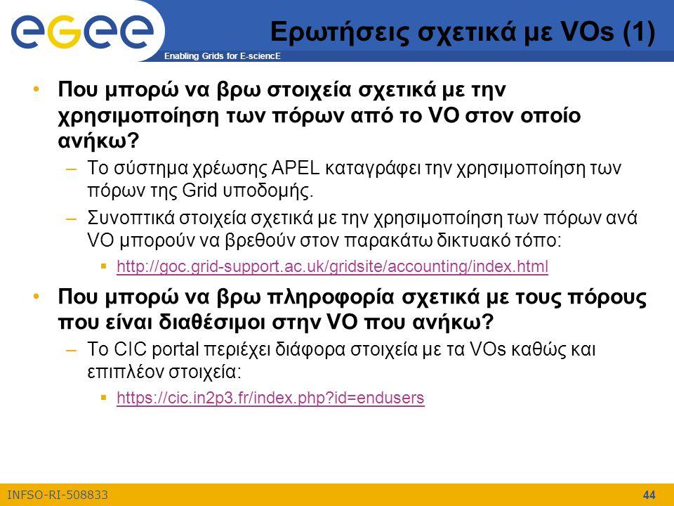 Enabling Grids for E-sciencE INFSO-RI-508833 44 Ερωτήσεις σχετικά με VOs (1) Που μπορώ να βρω στοιχεία σχετικά με την χρησιμοποίηση των πόρων από το VO στον οποίο ανήκω.