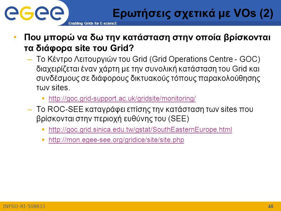 Enabling Grids for E-sciencE INFSO-RI-508833 45 Ερωτήσεις σχετικά με VOs (2) Που μπορώ να δω την κατάσταση στην οποία βρίσκονται τα διάφορα site του Grid.